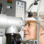 Lady having eye test examination — Stock Photo
