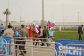 People  with Russian flags at the opening of the 2014 Winter Paralympics,Sochi. — Stock Photo