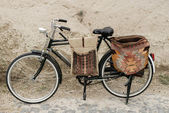 Bicycle with bags — Stock Photo