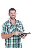 Deaf or hearing impaired man with tablet — Stock Photo