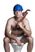 Male with naked torso, bue helmet  and wrench — Foto de Stock