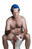 Male with naked torso, blue helmet  and wrench — Stock Photo