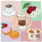 Tea drinking with cakes and sweets — Stock Vector