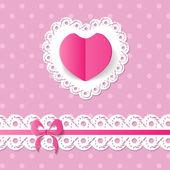 Rosa Hintergrund mit ein Herz und eine band — Stockvektor