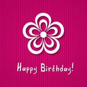Roze verjaardagskaart met een bloem — Stockvector