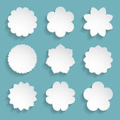Set of white paper floral frames — Vector de stock