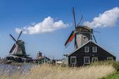 Zaanse schans 阿姆斯特丹附近的大风车 — 图库照片