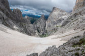 View of a snowfield in the Dolomites — Stock Photo