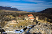 Dmanisi Sioni basilica and ruins of the Medieval fortress. — Stock Photo
