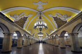 Train at the metro station Komsomolskaya in Moscow. — Stock Photo