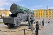 Rei (tsar pushka) de canhão no kremlin de moscovo, património mundial. — Foto Stock