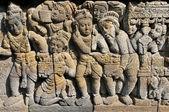 барельеф в древний буддийский храм боробудур, джакарте индонезии. — Стоковое фото
