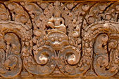 Pink stone carvings of Banteay Srei, Siemreap, Cambodia. — Stock Photo