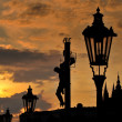 17th Century Crucifixion statue on Charles Bridge in Prague, Czech Republich — Stock Photo #44554311