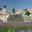 Old town square in Prague, St. Nicholas Church and monument of Jan Hus. Czech Republic, World Heritage Site by UNESCO — Stock Photo