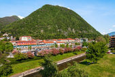 Laveno, Italy. View of the railway station. — Foto de Stock