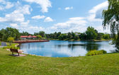 View of the lake in the subdivision of Northbrook — Stock Photo