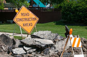 Road Construction Ahead sign — Stock Photo