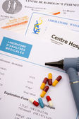 Capsules on medical prescription — 图库照片