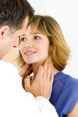 WOMAN PALPATING LYMPH NODE — Stock Photo