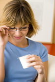 WOMAN, DAIRY PRODUCT — Stock Photo