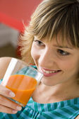 WOMAN WITH COLD DRINK — Stock Photo
