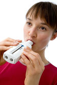 BREATHING, SPIROMETRY IN A WOMAN — ストック写真