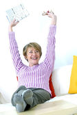 Äldre person stretching — Stockfoto