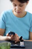 TEST FOR DIABETES, WOMAN — Stock Photo