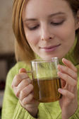 WOMAN WITH HOT DRINK — Stock Photo