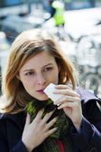 WOMAN  WITH RHINITIS — Stock fotografie