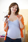 PREGNANT WOMAN EATING — Stock Photo