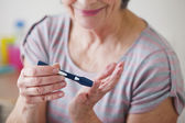 TEST FOR DIABETES ELDERLY PERSON — Stock Photo