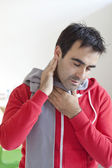 MAN WITH SORE THROAT — Stock Photo