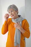 ELDERLY PERSON WITH RHINITIS — Foto de Stock