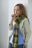 WOMAN COUGHING — Stock Photo