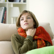 WOMAN WITH SORE THROAT — Stock Photo #44393283
