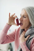 ASTHMA TREATMENT, ELDERLY PERSON — Stock Photo