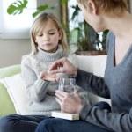CHILD TAKING MEDICATION — Stock Photo