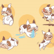 Playful cute french bulldog dogs — Stock Vector
