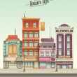Small Town Street View with retro colors — Stock Vector #44113351