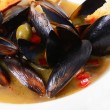 Stock Photo: Mussels Tuscwith crispy ciabatta