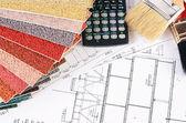 Projekte der häuser mit farbpalette — Stockfoto