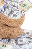 Billetes de dólar en un saco aislado — Foto de Stock
