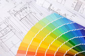 Projects of houses with color palette — Stock Photo