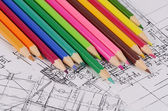 Projects of houses with color pencil — Stock Photo