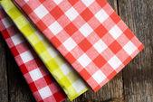 Checkered cloth napkins — Stock Photo