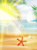 Abstract summer poster with beach. — 图库矢量图片