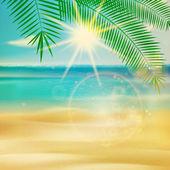 Summer beach in retro style. — Stock Vector
