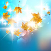 Autumn background with colorful leaves on blue. — 图库矢量图片